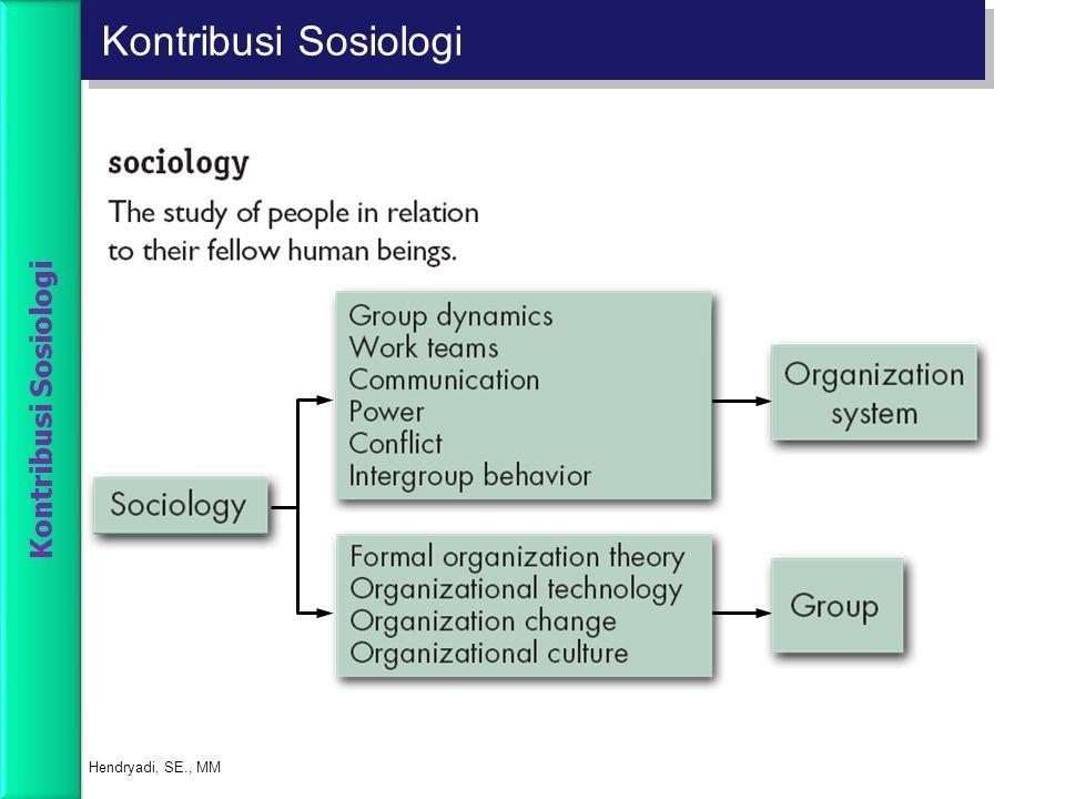 Kontribusi Sosiologi Kontribusi Sosiologi Hendryadi, SE., MM