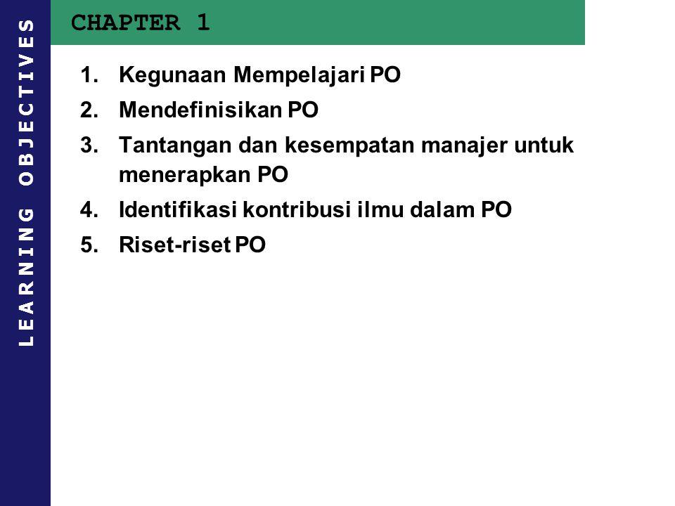 CHAPTER 1 Kegunaan Mempelajari PO Mendefinisikan PO