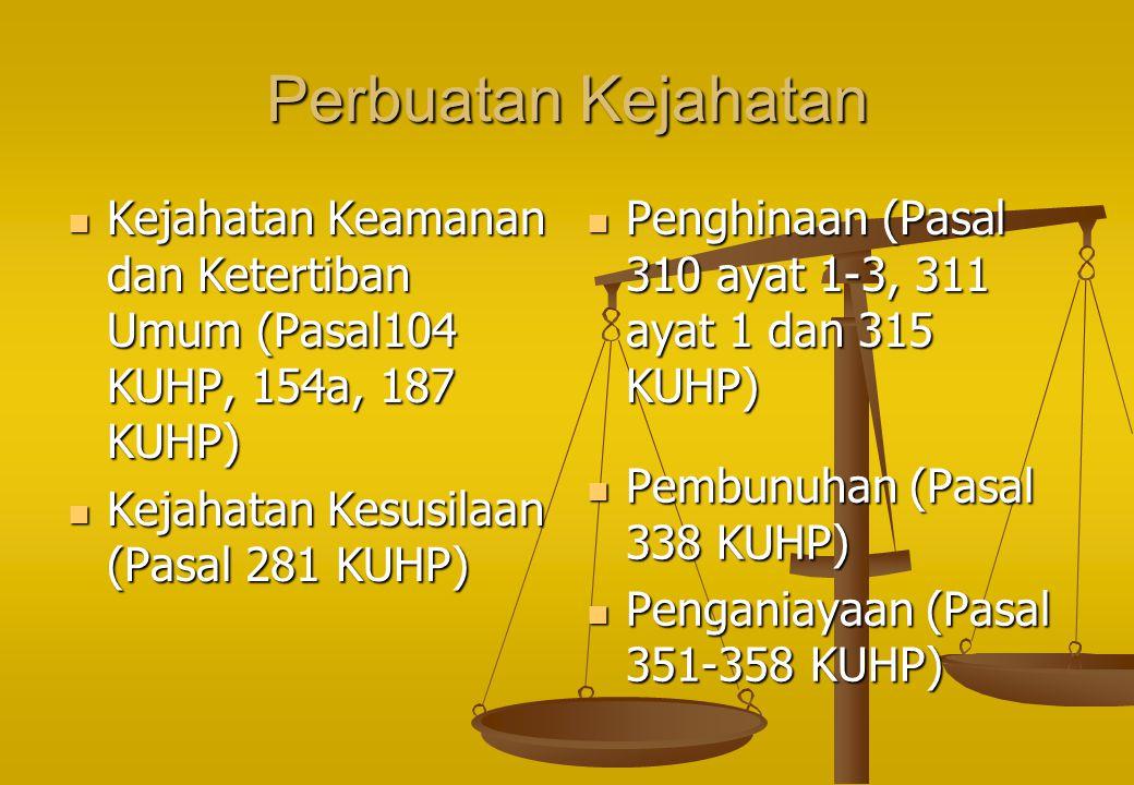 Perbuatan Kejahatan Kejahatan Keamanan dan Ketertiban Umum (Pasal104 KUHP, 154a, 187 KUHP) Kejahatan Kesusilaan (Pasal 281 KUHP)