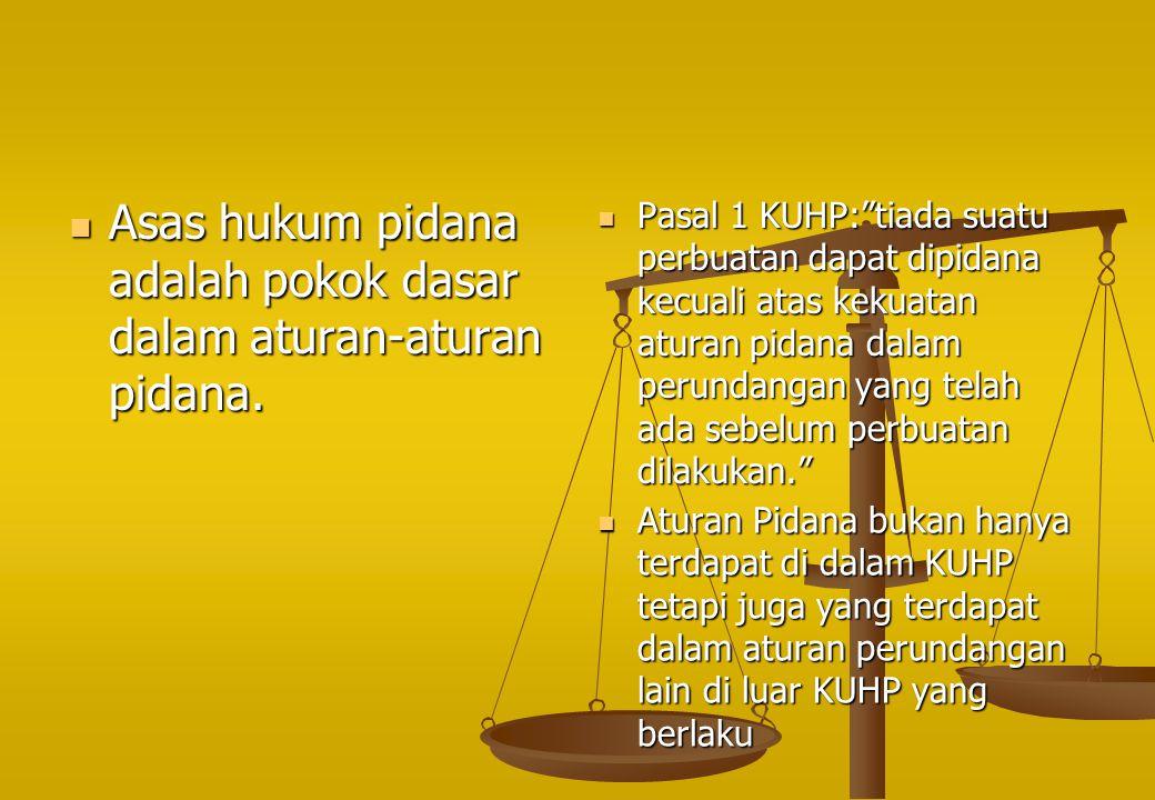Asas hukum pidana adalah pokok dasar dalam aturan-aturan pidana.