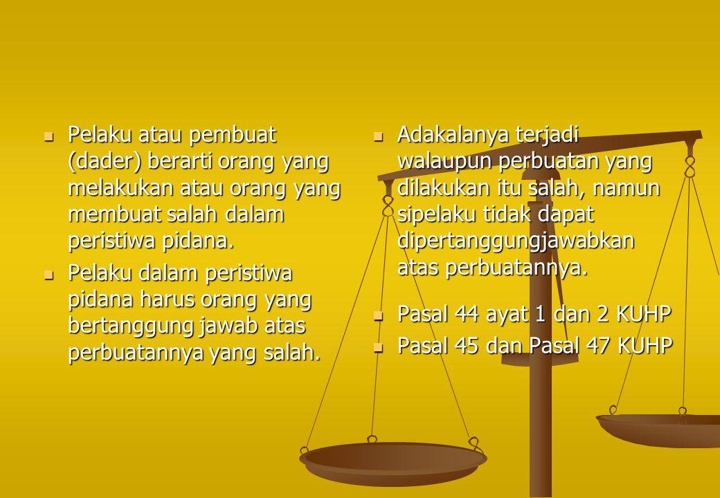 Pelaku atau pembuat (dader) berarti orang yang melakukan atau orang yang membuat salah dalam peristiwa pidana.