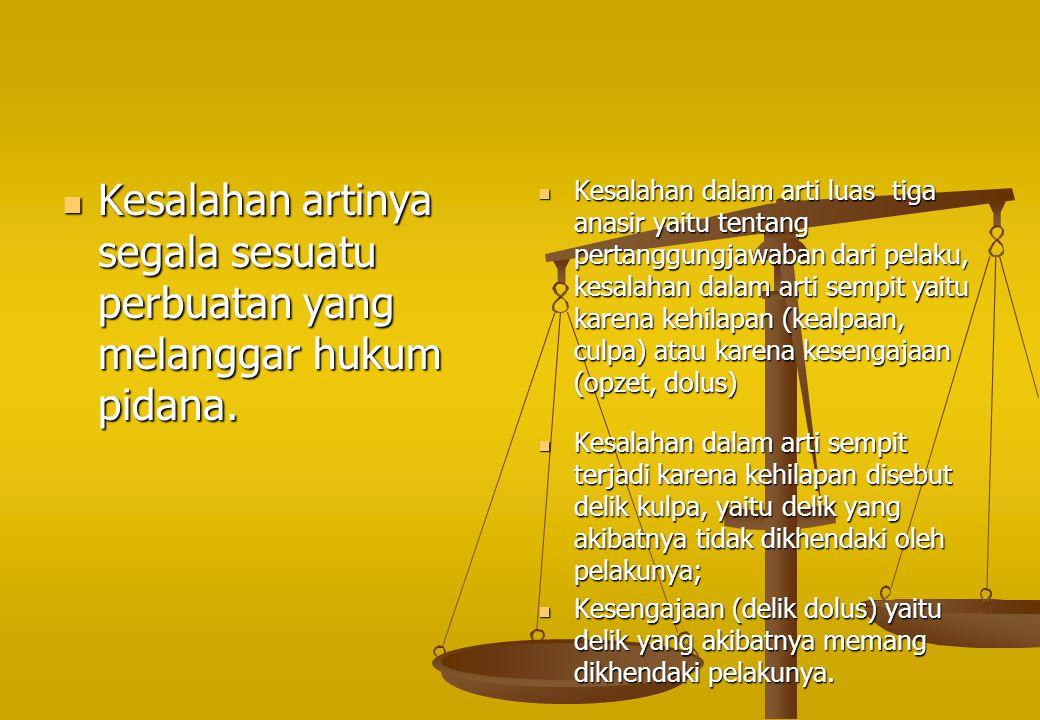 Kesalahan artinya segala sesuatu perbuatan yang melanggar hukum pidana.