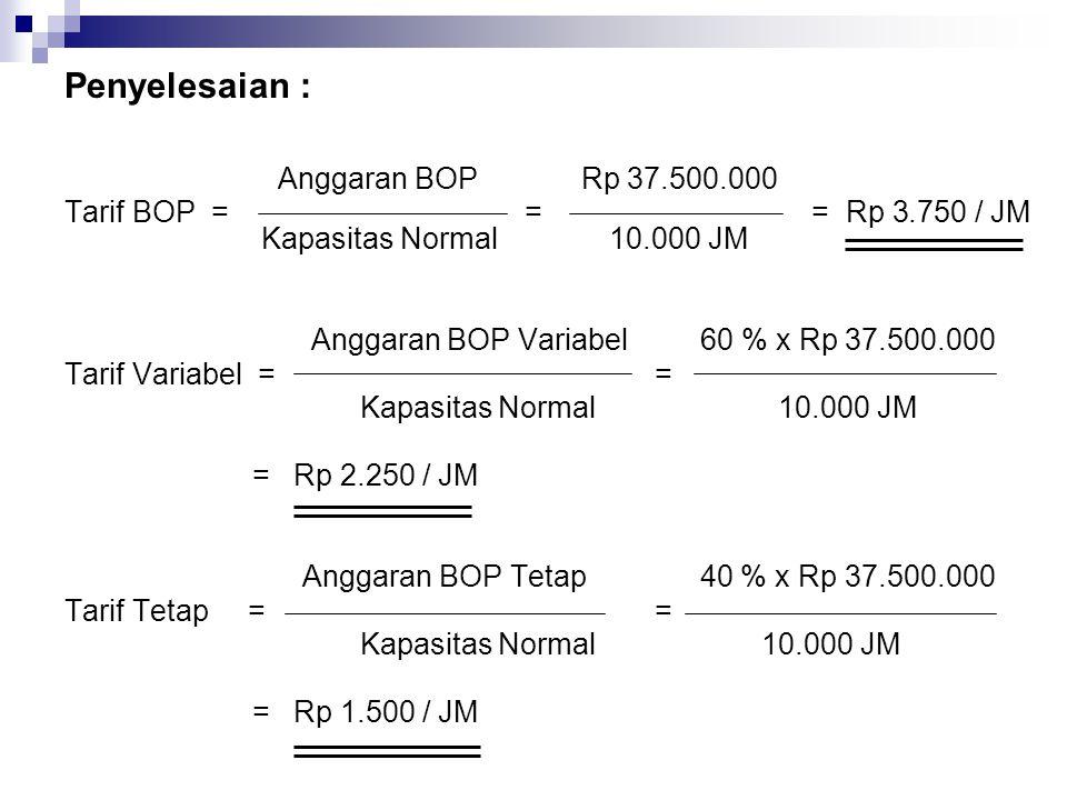 Penyelesaian : Anggaran BOP Rp 37.500.000. Tarif BOP = = = Rp 3.750 / JM Kapasitas Normal 10.000 JM.