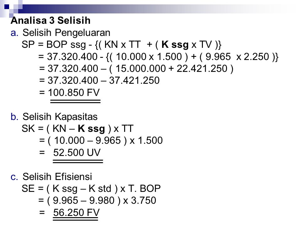 Analisa 3 Selisih Selisih Pengeluaran. SP = BOP ssg - {( KN x TT + ( K ssg x TV )} = 37.320.400 - {( 10.000 x 1.500 ) + ( 9.965 x 2.250 )}