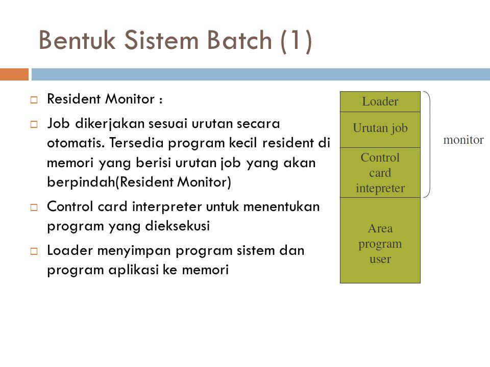 Bentuk Sistem Batch (1) Resident Monitor :