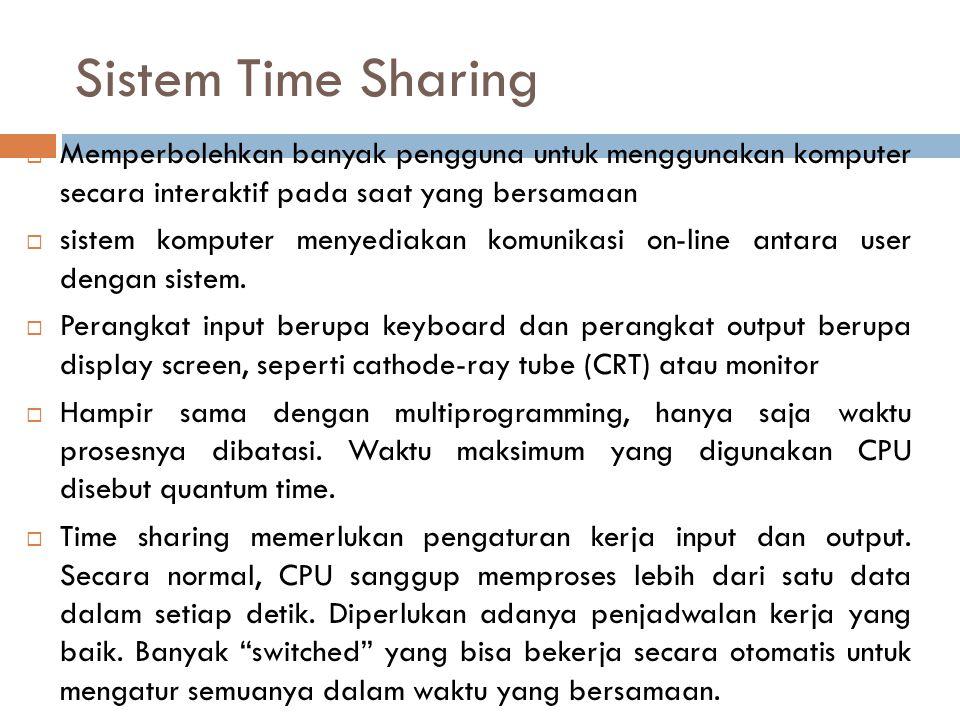 Sistem Time Sharing Memperbolehkan banyak pengguna untuk menggunakan komputer secara interaktif pada saat yang bersamaan.