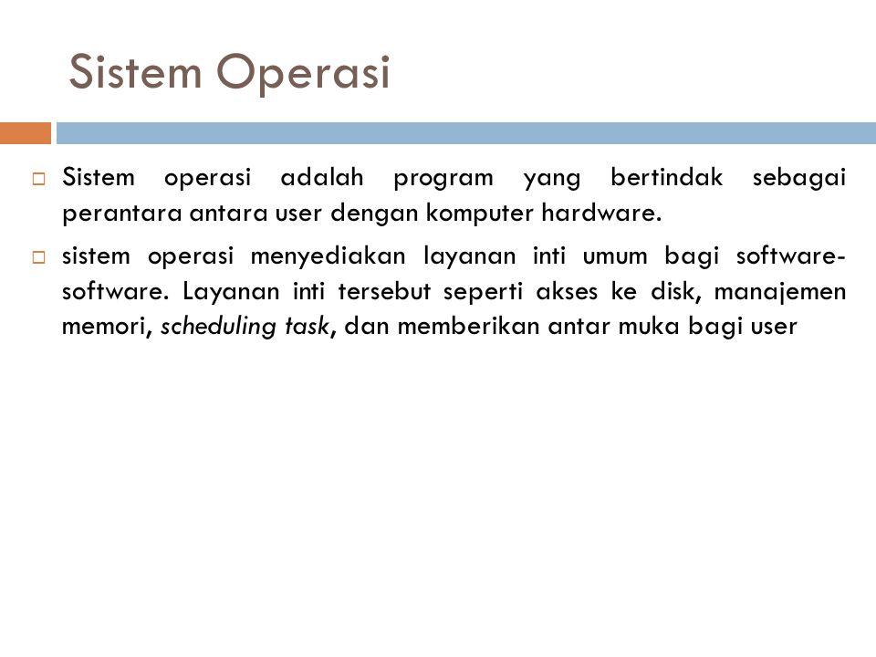 Sistem Operasi Sistem operasi adalah program yang bertindak sebagai perantara antara user dengan komputer hardware.