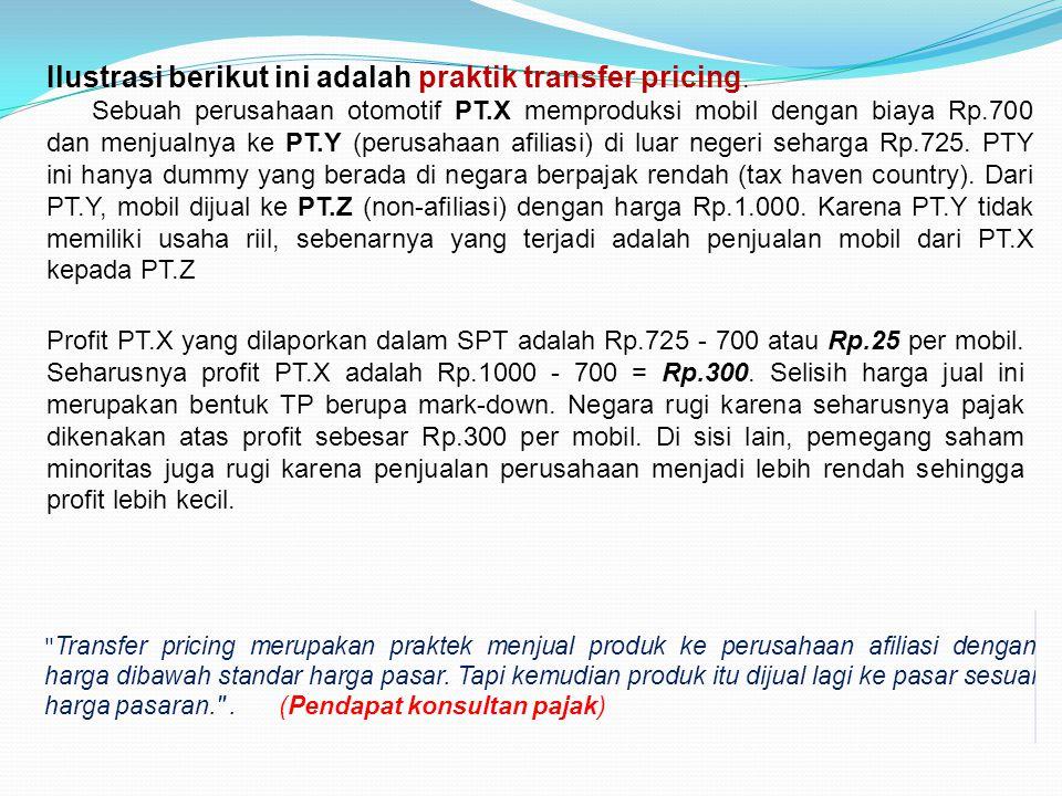 Ilustrasi berikut ini adalah praktik transfer pricing.