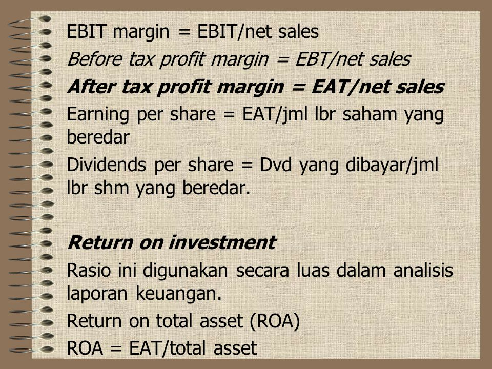 EBIT margin = EBIT/net sales
