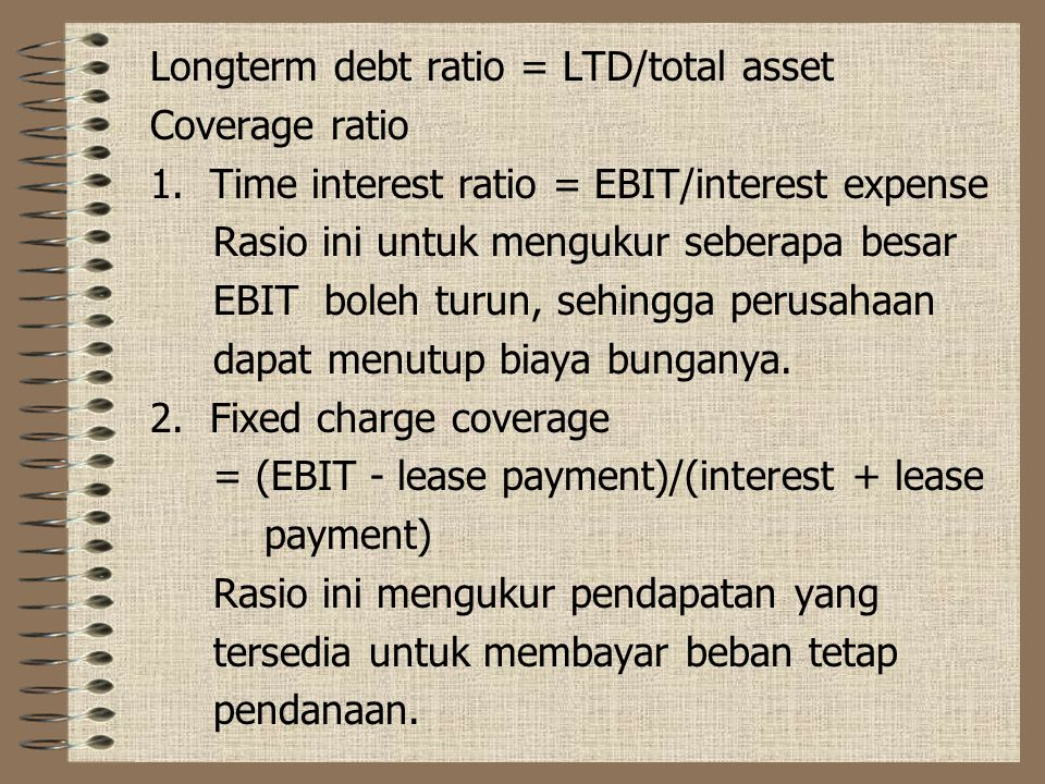 Longterm debt ratio = LTD/total asset