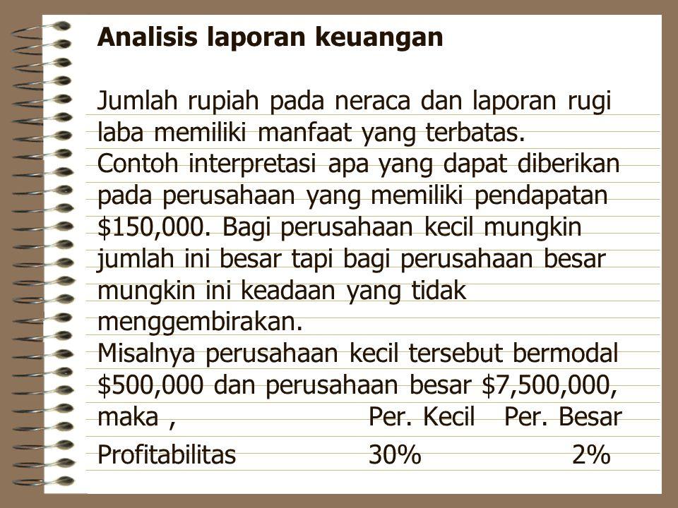 Analisis laporan keuangan Jumlah rupiah pada neraca dan laporan rugi laba memiliki manfaat yang terbatas.