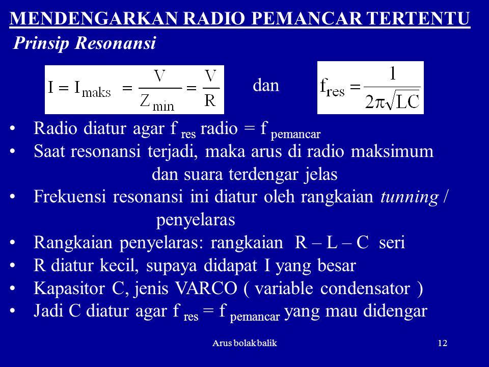 MENDENGARKAN RADIO PEMANCAR TERTENTU Prinsip Resonansi