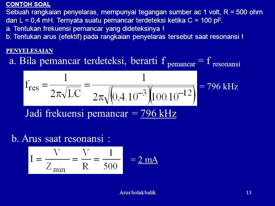 a. Bila pemancar terdeteksi, berarti f pemancar = f resonansi