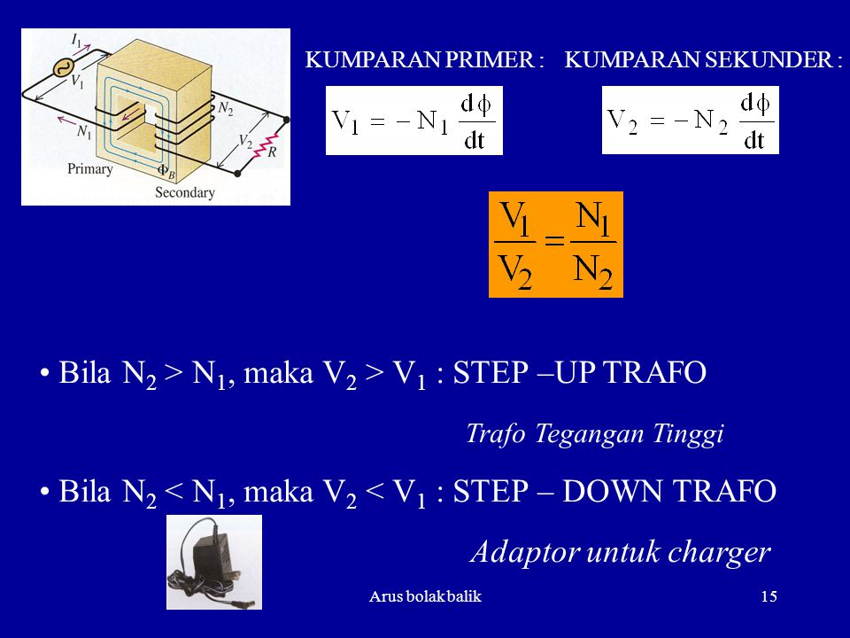 Bila N2 > N1, maka V2 > V1 : STEP –UP TRAFO