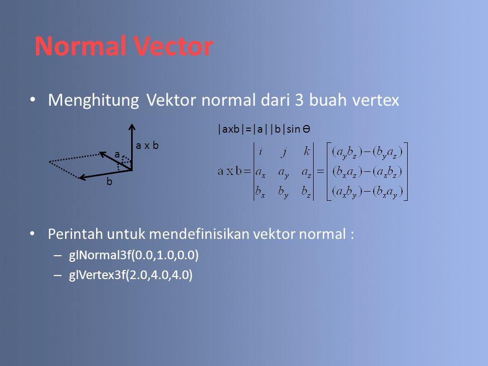Normal Vector Menghitung Vektor normal dari 3 buah vertex