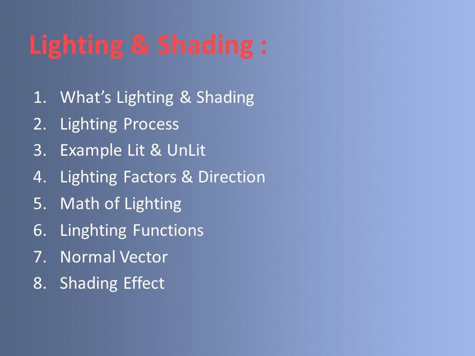 Lighting & Shading : What's Lighting & Shading Lighting Process