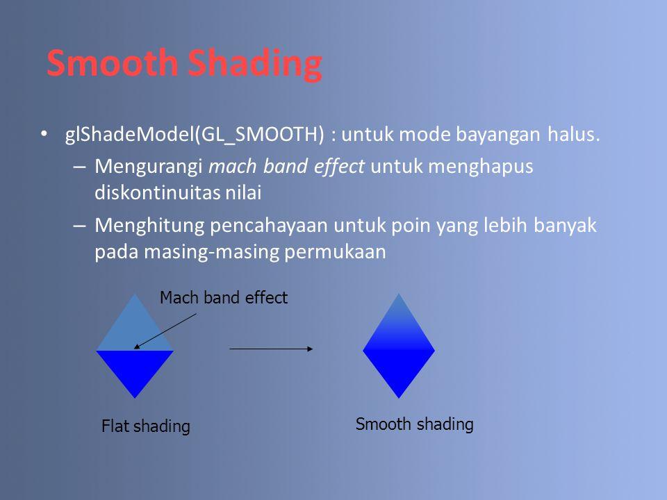 Smooth Shading glShadeModel(GL_SMOOTH) : untuk mode bayangan halus.