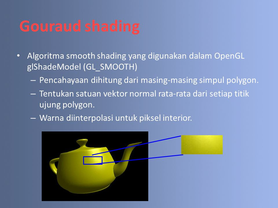 Gouraud shading Algoritma smooth shading yang digunakan dalam OpenGL glShadeModel (GL_SMOOTH)