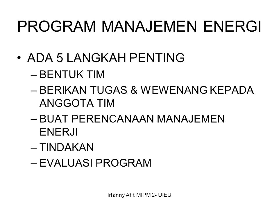 PROGRAM MANAJEMEN ENERGI