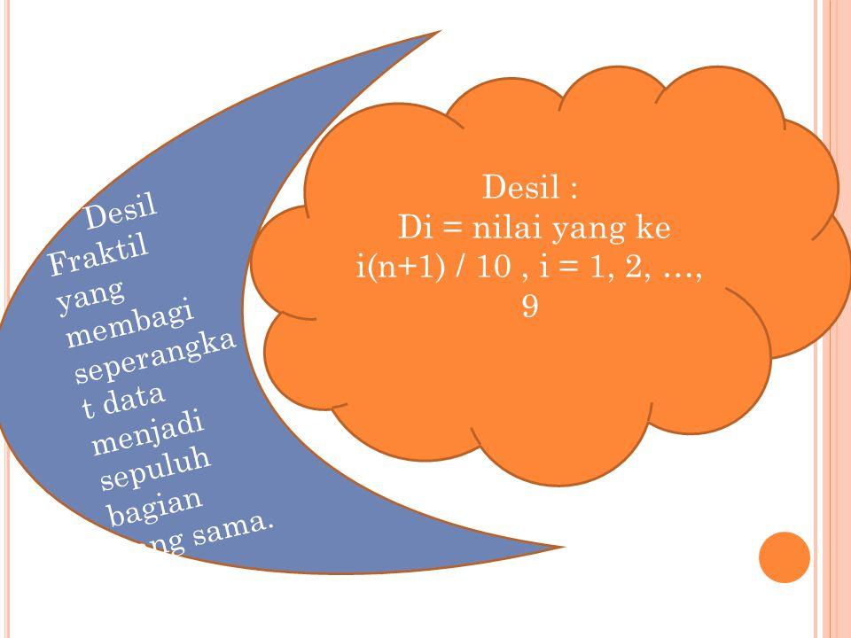 Di = nilai yang ke i(n+1) / 10 , i = 1, 2, …, 9
