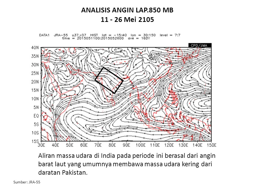ANALISIS ANGIN LAP.850 MB 11 - 26 Mei 2105