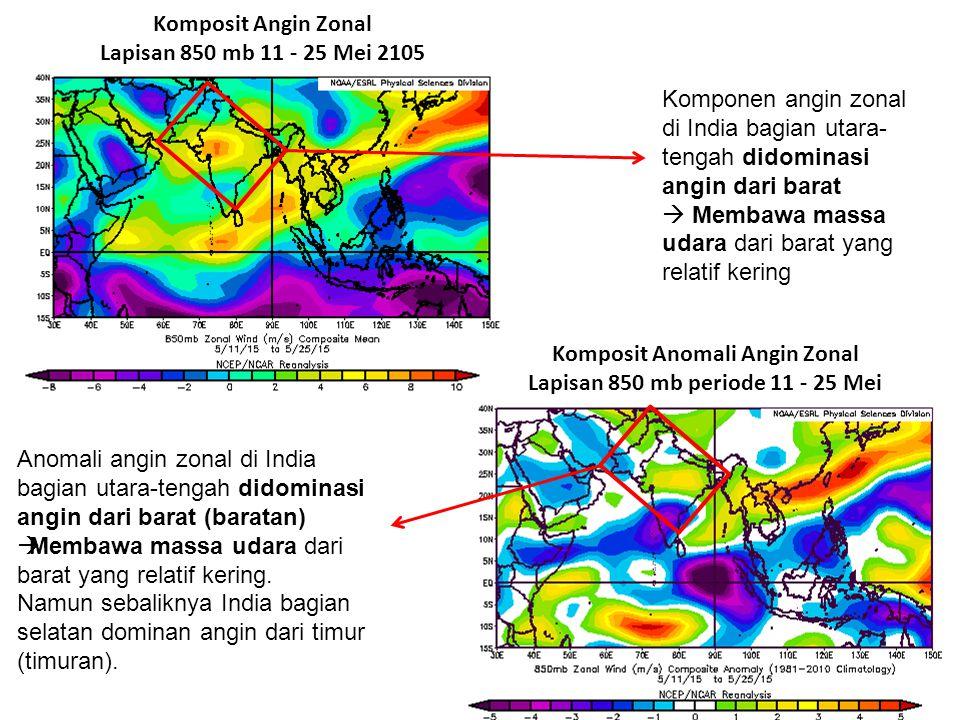 Komposit Anomali Angin Zonal Lapisan 850 mb periode 11 - 25 Mei