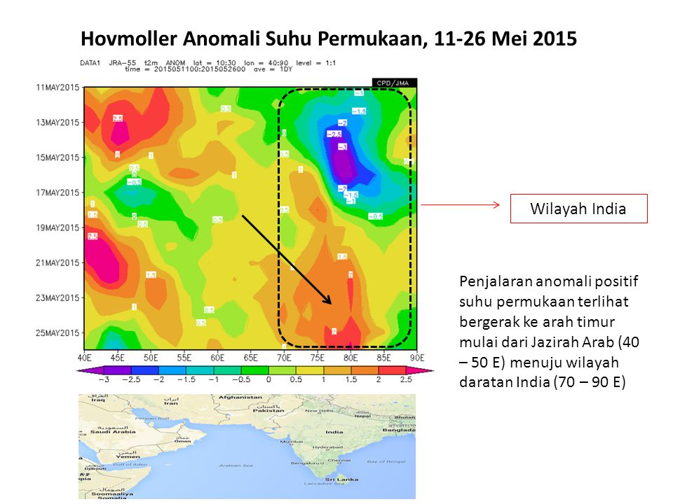 Hovmoller Anomali Suhu Permukaan, 11-26 Mei 2015