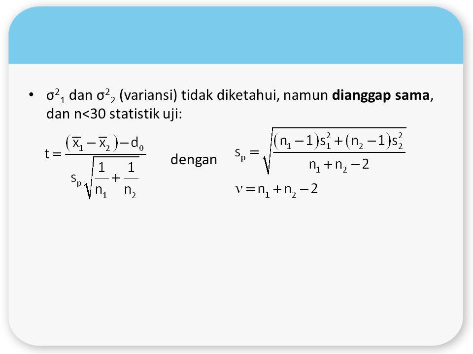 σ21 dan σ22 (variansi) tidak diketahui, namun dianggap sama, dan n<30 statistik uji: