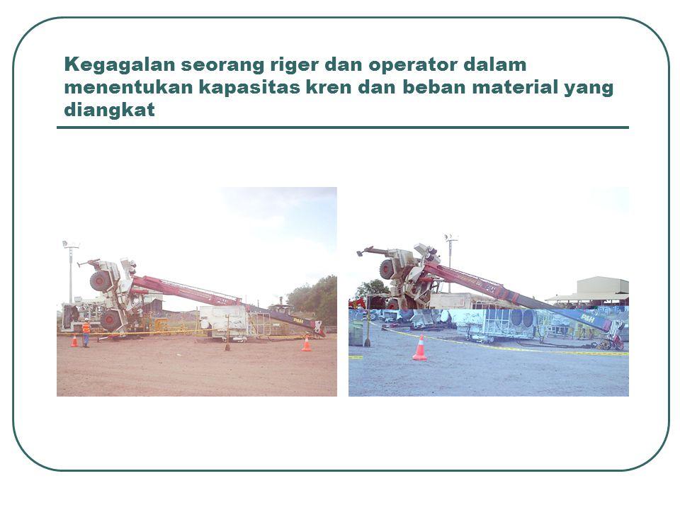 Kegagalan seorang riger dan operator dalam menentukan kapasitas kren dan beban material yang diangkat