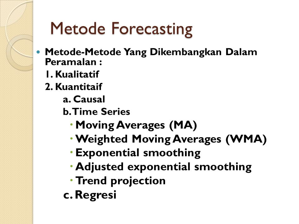 Metode Forecasting c. Regresi Moving Averages (MA)