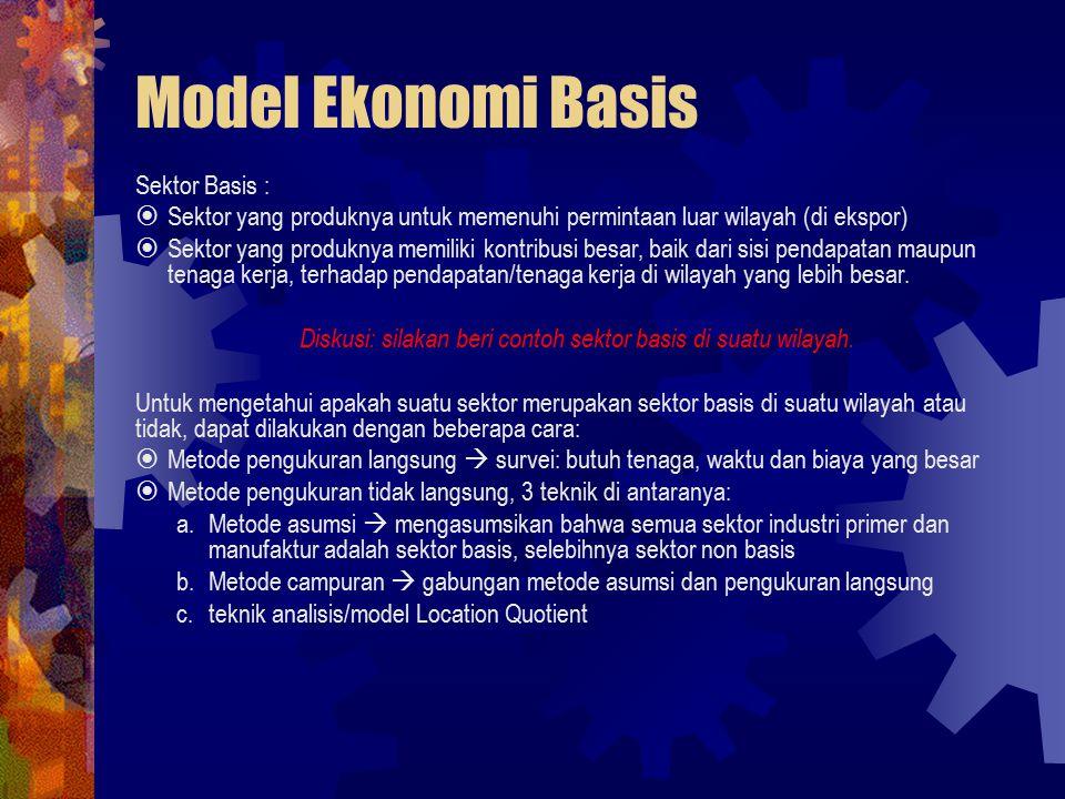 Diskusi: silakan beri contoh sektor basis di suatu wilayah.