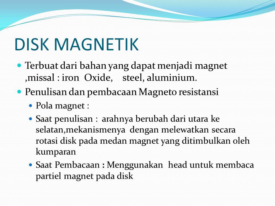 DISK MAGNETIK Terbuat dari bahan yang dapat menjadi magnet ,missal : iron Oxide, steel, aluminium.