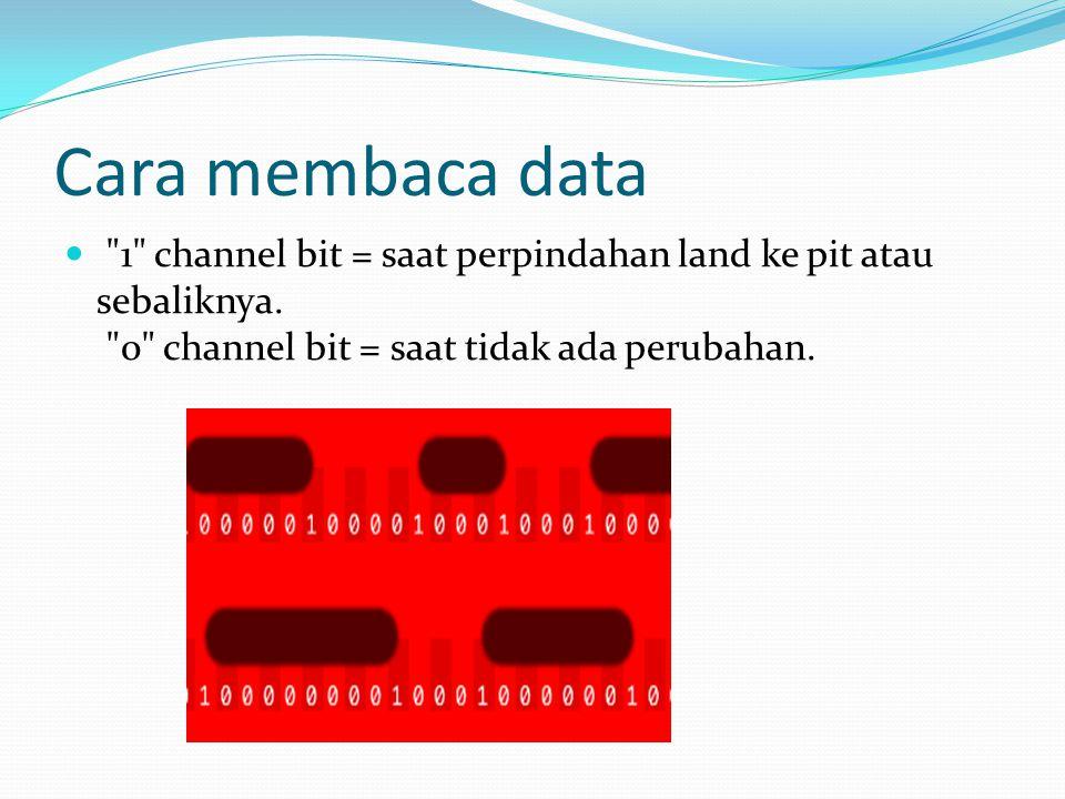 Cara membaca data 1 channel bit = saat perpindahan land ke pit atau sebaliknya.
