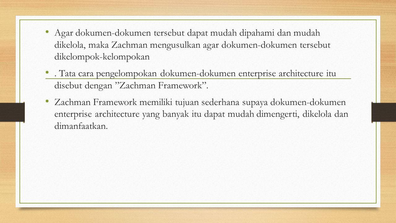 Agar dokumen-dokumen tersebut dapat mudah dipahami dan mudah dikelola, maka Zachman mengusulkan agar dokumen-dokumen tersebut dikelompok-kelompokan