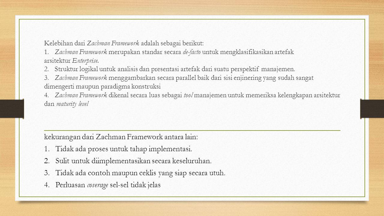kekurangan dari Zachman Framework antara lain: