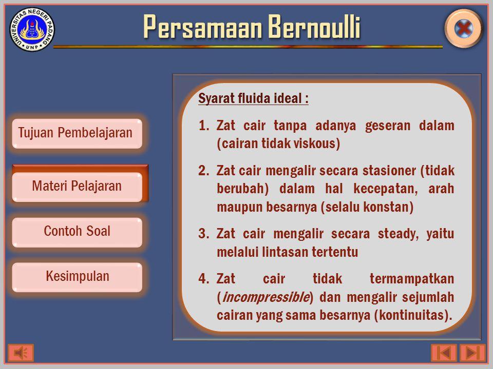 Persamaan Bernoulli Syarat fluida ideal :