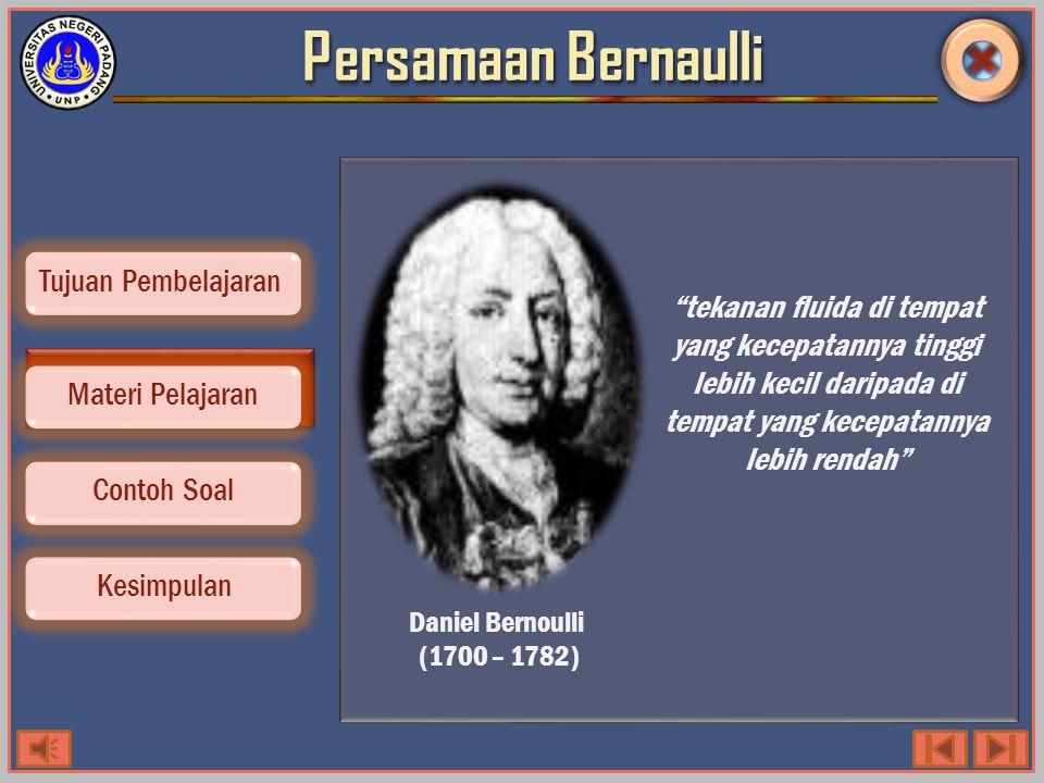 Persamaan Bernaulli tekanan fluida di tempat yang kecepatannya tinggi lebih kecil daripada di tempat yang kecepatannya lebih rendah