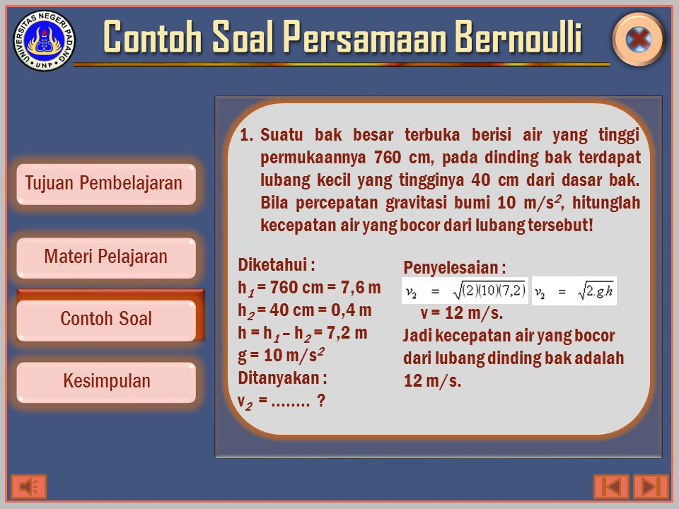 Contoh Soal Persamaan Bernoulli