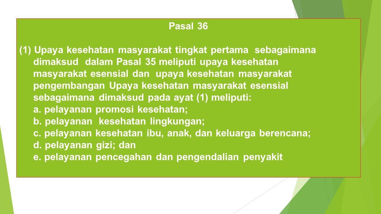 Pasal 36 Upaya kesehatan masyarakat tingkat pertama sebagaimana. dimaksud dalam Pasal 35 meliputi upaya kesehatan.