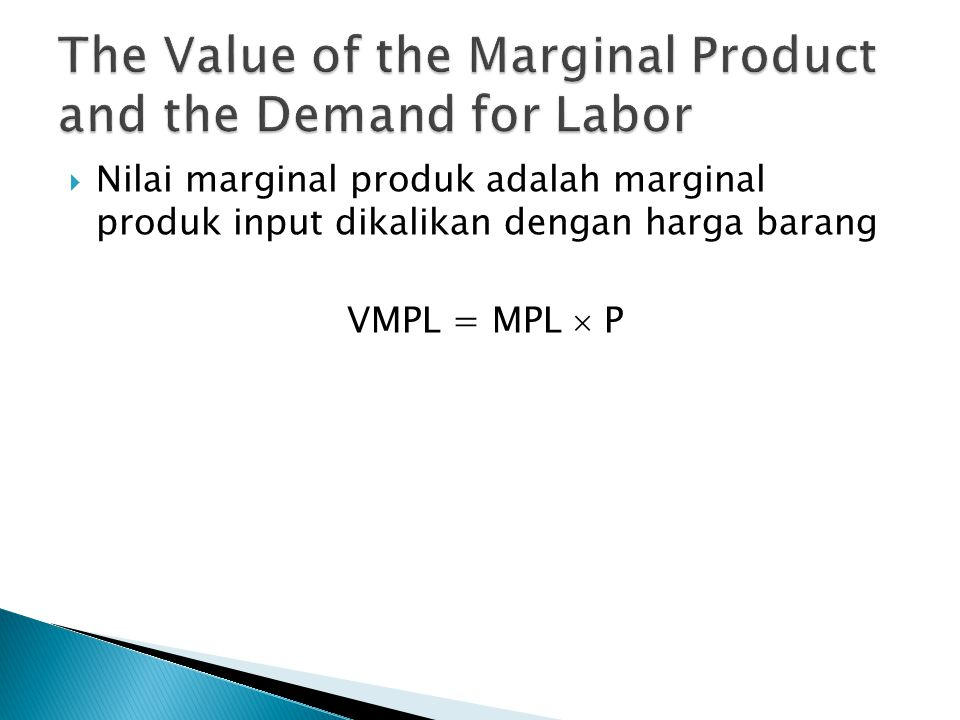 The Value of the Marginal Product and the Demand for Labor