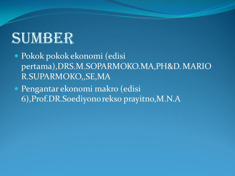 SUMBER Pokok pokok ekonomi (edisi pertama),DRS.M.SOPARMOKO.MA,PH&D. MARIO R.SUPARMOKO,,SE,MA.