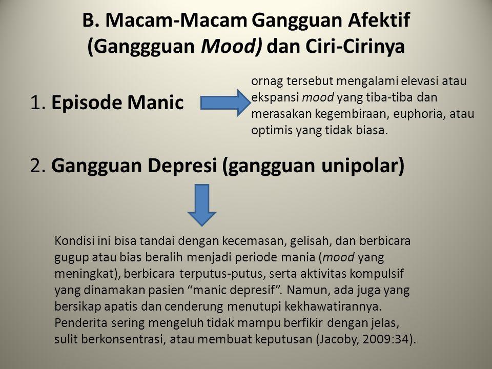 B. Macam-Macam Gangguan Afektif (Ganggguan Mood) dan Ciri-Cirinya