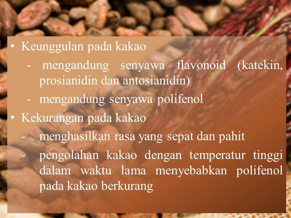 Keunggulan pada kakao - mengandung senyawa flavonoid (katekin, prosianidin dan antosianidin) - mengandung senyawa polifenol.