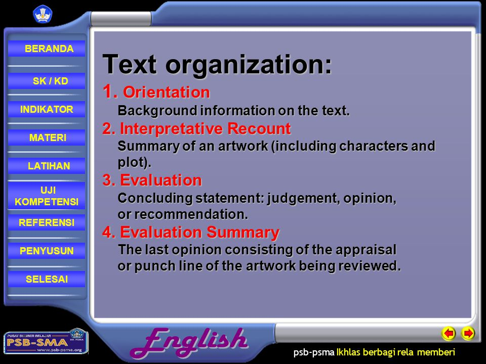 Text organization: 1. Orientation Background information on the text.