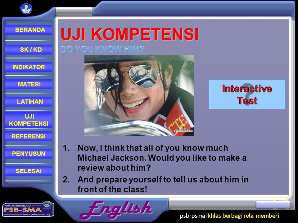 Uji Kompetensi Interactive Test Do you know him