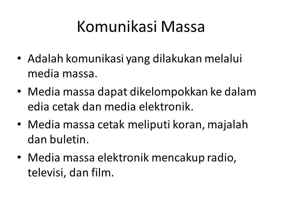 Komunikasi Massa Adalah komunikasi yang dilakukan melalui media massa.