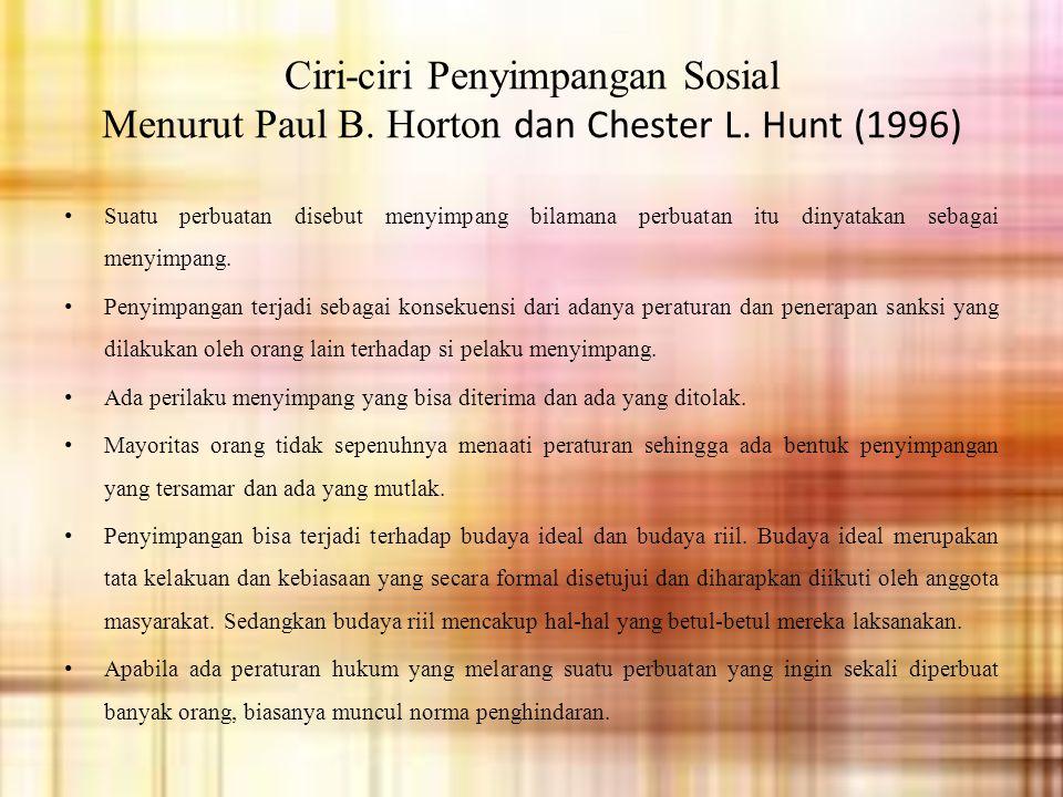 Ciri-ciri Penyimpangan Sosial Menurut Paul B. Horton dan Chester L