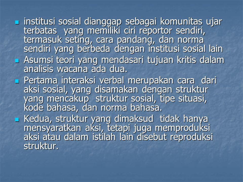 institusi sosial dianggap sebagai komunitas ujar terbatas yang memiliki ciri reportor sendiri, termasuk seting, cara pandang, dan norma sendiri yang berbeda dengan institusi sosial lain