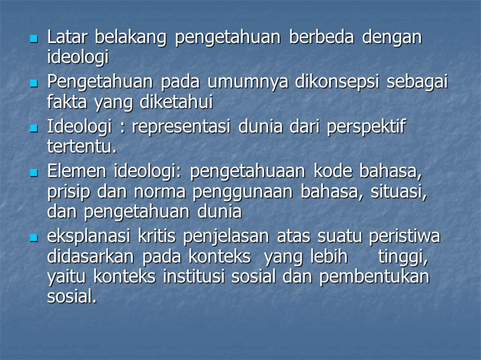 Latar belakang pengetahuan berbeda dengan ideologi