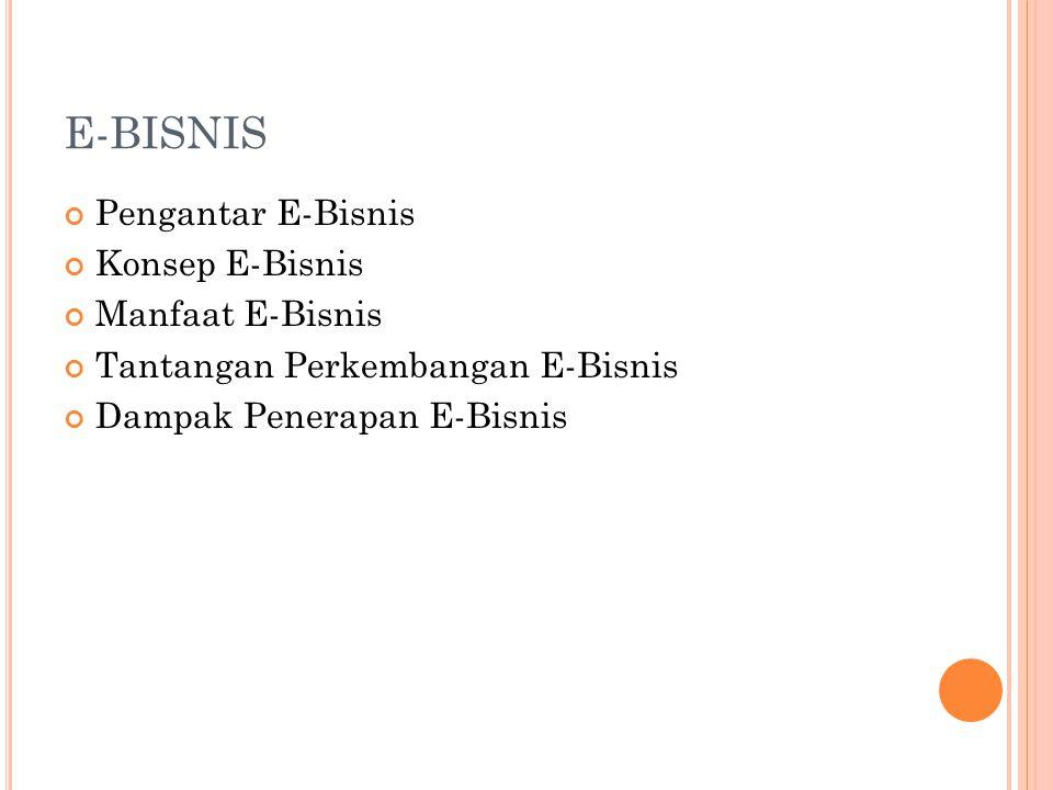 E-BISNIS Pengantar E-Bisnis Konsep E-Bisnis Manfaat E-Bisnis